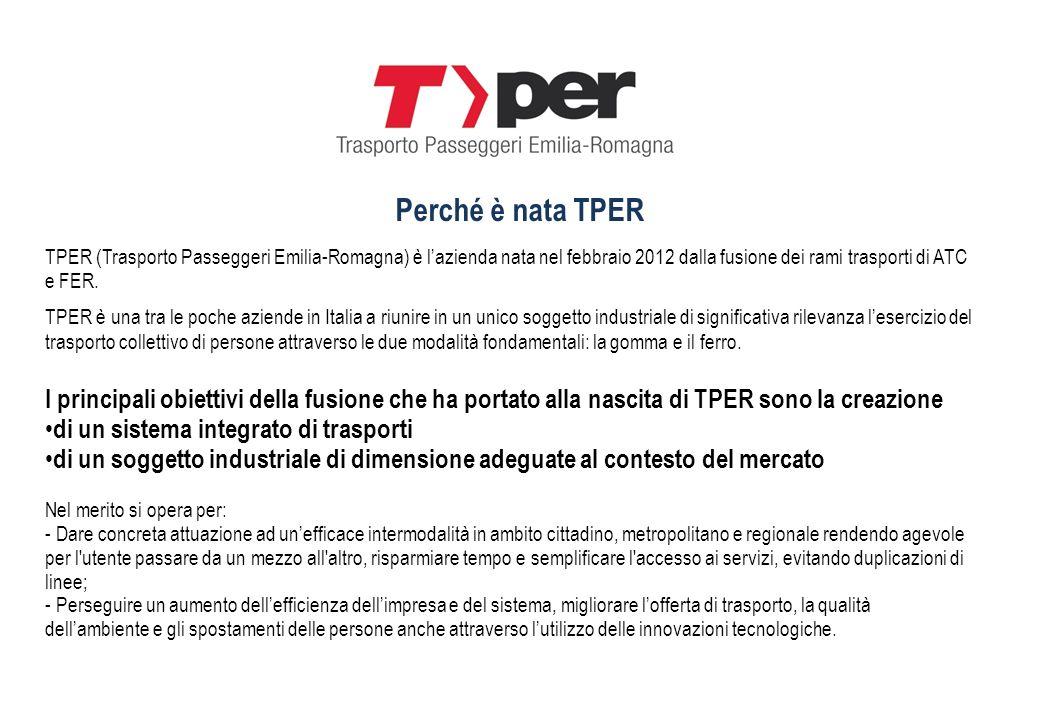 TPER (Trasporto Passeggeri Emilia-Romagna) è lazienda nata nel febbraio 2012 dalla fusione dei rami trasporti di ATC e FER. TPER è una tra le poche az