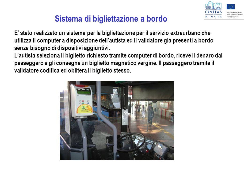 Sistema di bigliettazione a bordo E stato realizzato un sistema per la bigliettazione per il servizio extraurbano che utilizza il computer a disposizi
