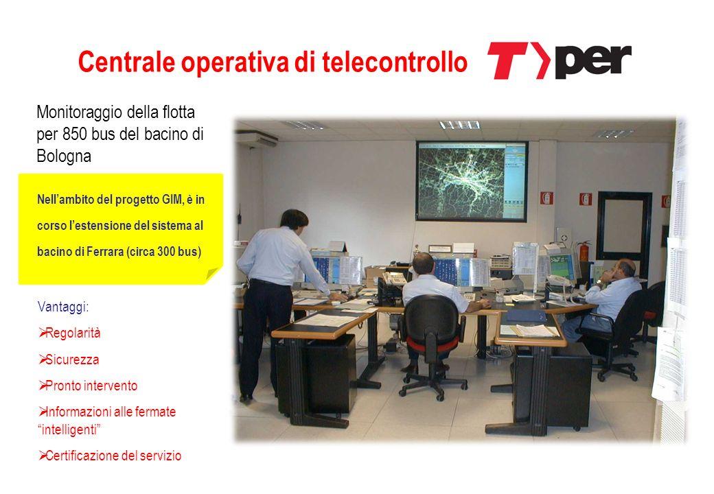 Centrale operativa di telecontrollo Monitoraggio della flotta per 850 bus del bacino di Bologna Vantaggi: Regolarità Sicurezza Pronto intervento Infor
