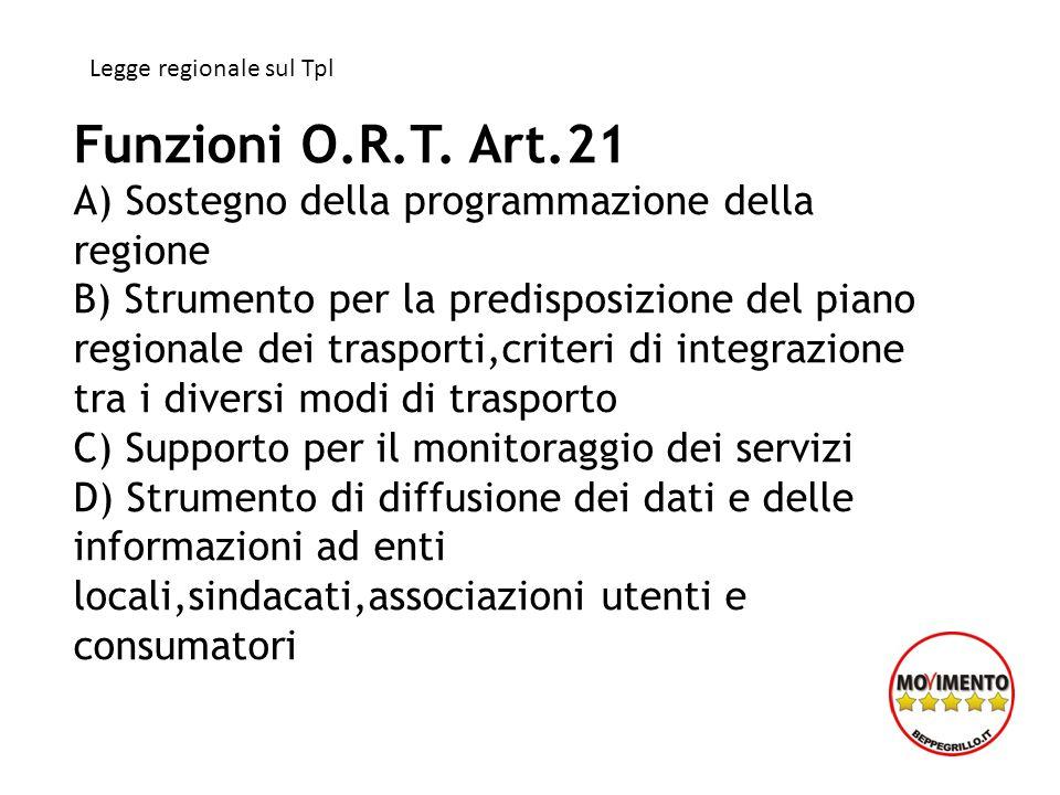 Funzioni O.R.T. Art.21 A) Sostegno della programmazione della regione B) Strumento per la predisposizione del piano regionale dei trasporti,criteri di
