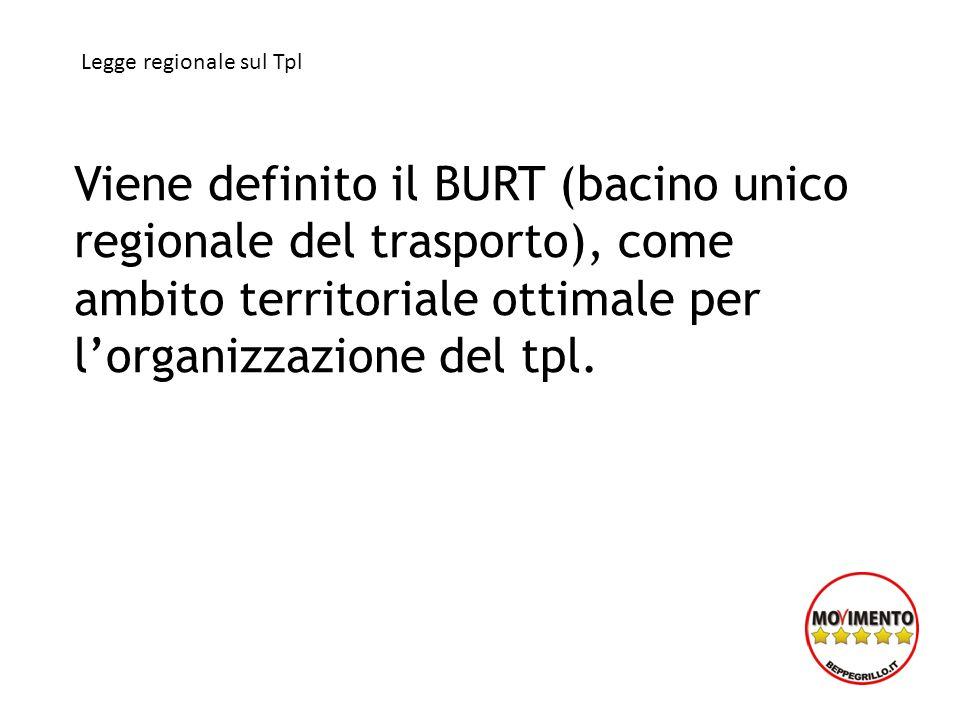 Viene definito il BURT (bacino unico regionale del trasporto), come ambito territoriale ottimale per lorganizzazione del tpl. Legge regionale sul Tpl