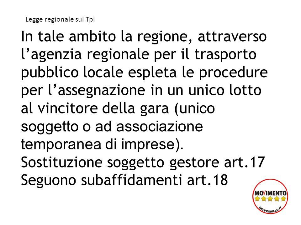In tale ambito la regione, attraverso lagenzia regionale per il trasporto pubblico locale espleta le procedure per lassegnazione in un unico lotto al