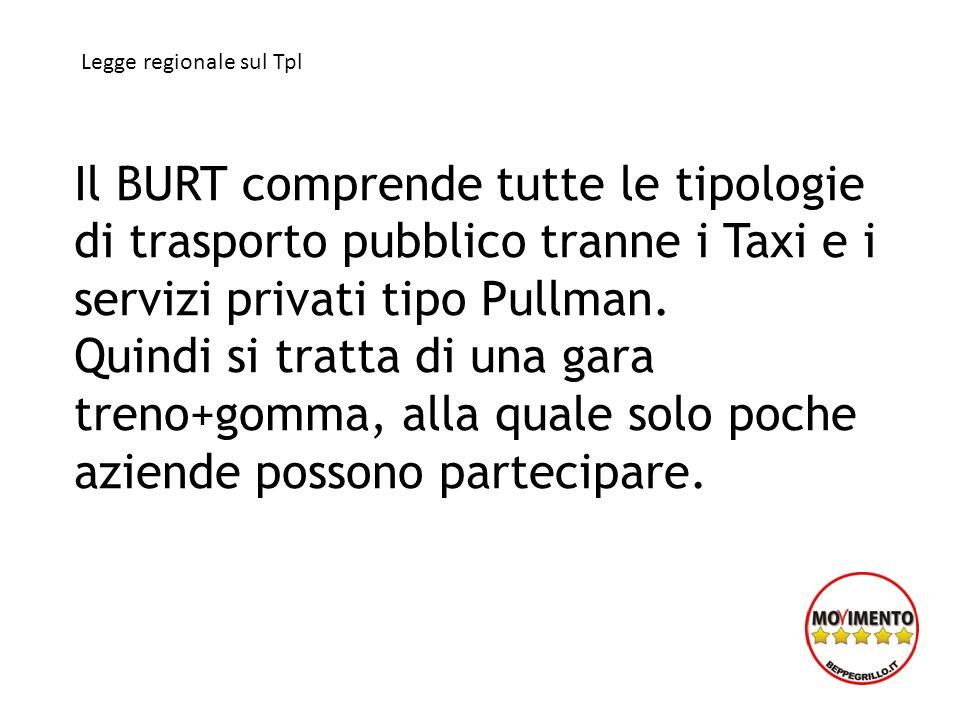 Il BURT comprende tutte le tipologie di trasporto pubblico tranne i Taxi e i servizi privati tipo Pullman. Quindi si tratta di una gara treno+gomma, a