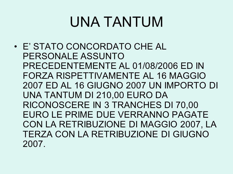 UNA TANTUM E STATO CONCORDATO CHE AL PERSONALE ASSUNTO PRECEDENTEMENTE AL 01/08/2006 ED IN FORZA RISPETTIVAMENTE AL 16 MAGGIO 2007 ED AL 16 GIUGNO 200