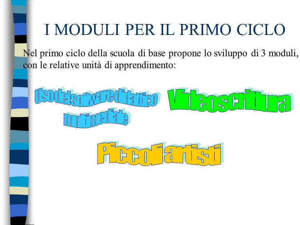 I MODULI PER IL PRIMO CICLO Nel primo ciclo della scuola di base propone lo sviluppo di 3 moduli, con le relative unità di apprendimento: