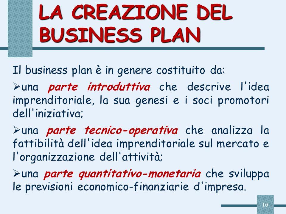 10 LA CREAZIONE DEL BUSINESS PLAN Il business plan è in genere costituito da: una parte introduttiva che descrive l'idea imprenditoriale, la sua genes