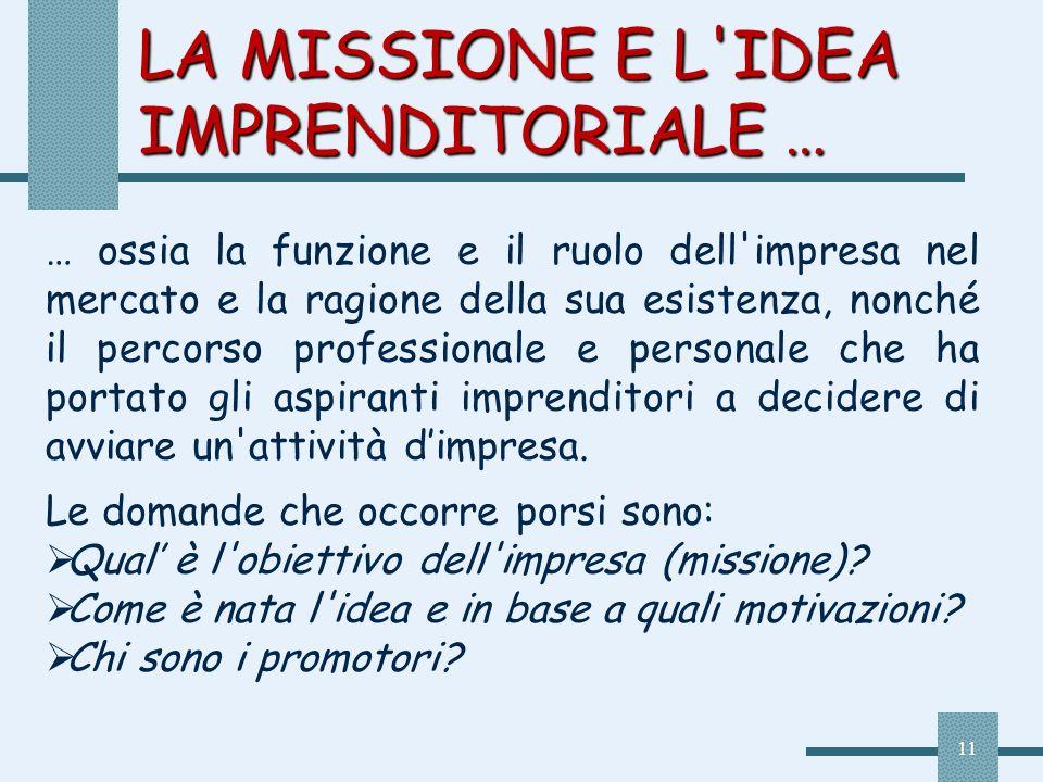 11 LA MISSIONE E L'IDEA IMPRENDITORIALE … … ossia la funzione e il ruolo dell'impresa nel mercato e la ragione della sua esistenza, nonché il percorso