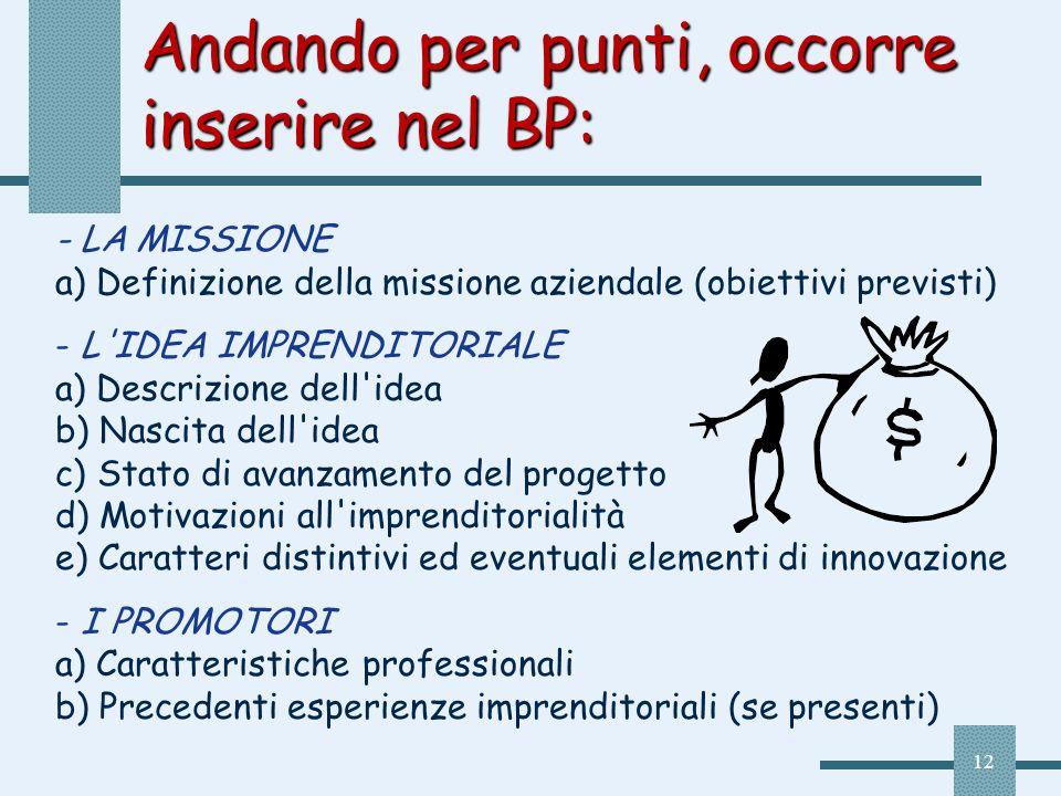 12 Andando per punti, occorre inserire nel BP: - LA MISSIONE a) Definizione della missione aziendale (obiettivi previsti) - L'IDEA IMPRENDITORIALE a)