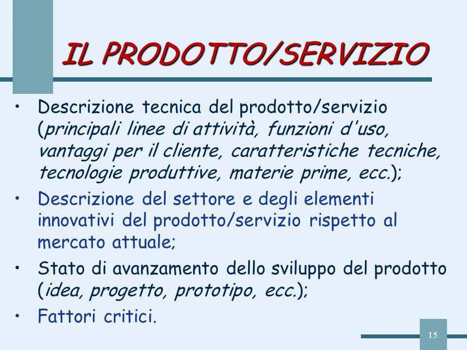 15 IL PRODOTTO/SERVIZIO Descrizione tecnica del prodotto/servizio (principali linee di attività, funzioni d'uso, vantaggi per il cliente, caratteristi