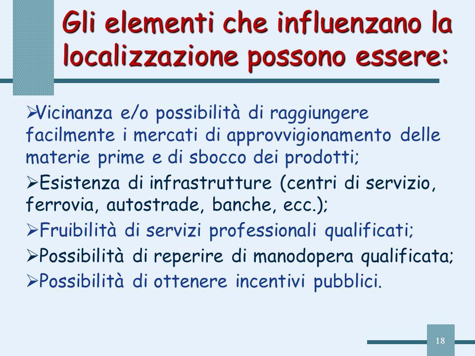 18 Gli elementi che influenzano la localizzazione possono essere: Vicinanza e/o possibilità di raggiungere facilmente i mercati di approvvigionamento