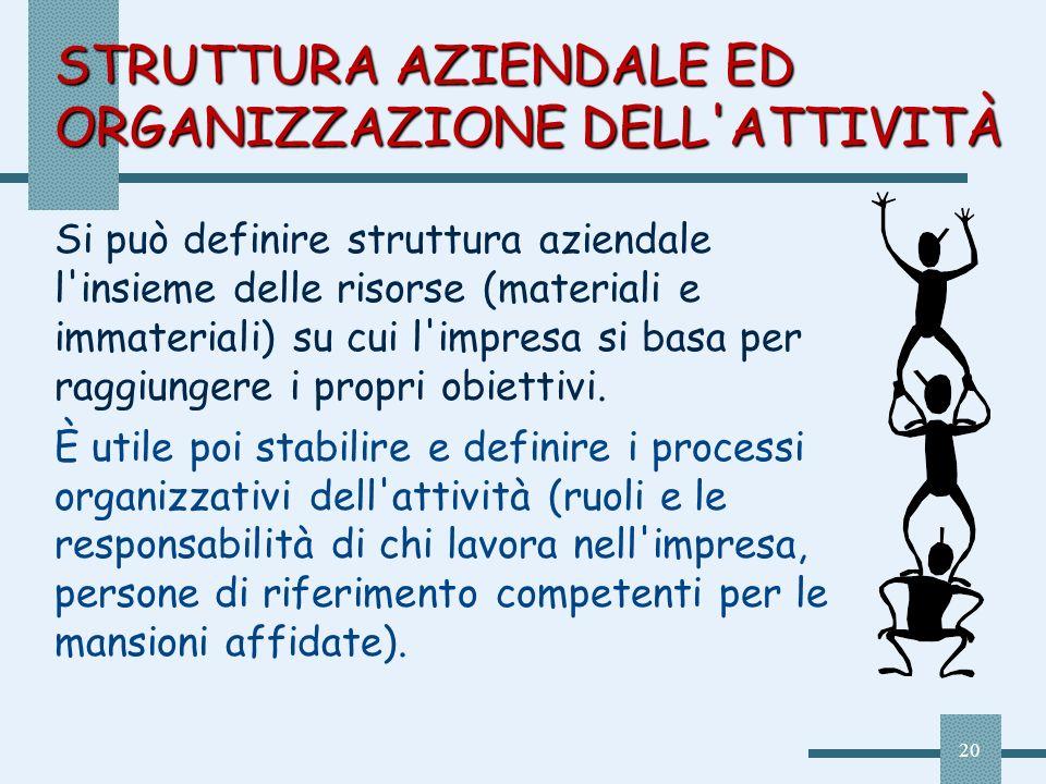 20 STRUTTURA AZIENDALE ED ORGANIZZAZIONE DELL'ATTIVITÀ Si può definire struttura aziendale l'insieme delle risorse (materiali e immateriali) su cui l'
