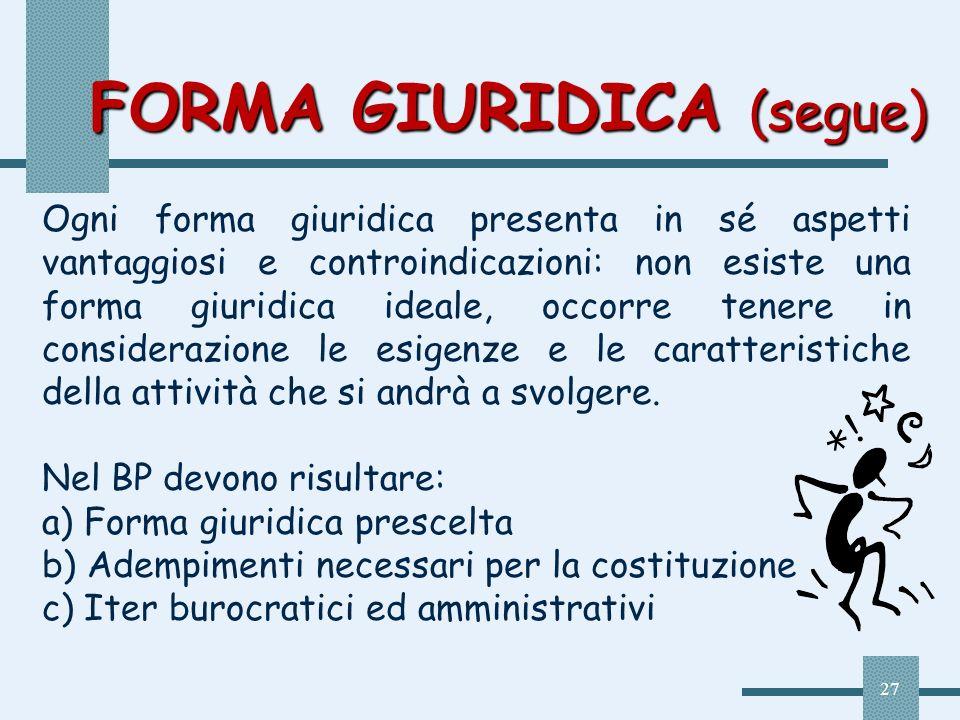 27 FORMA GIURIDICA (segue) Ogni forma giuridica presenta in sé aspetti vantaggiosi e controindicazioni: non esiste una forma giuridica ideale, occorre