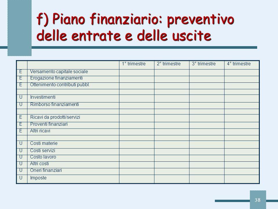 38 f) Piano finanziario: preventivo delle entrate e delle uscite 1° trimestre2° trimestre3° trimestre4° trimestre EVersamento capitale sociale EErogaz