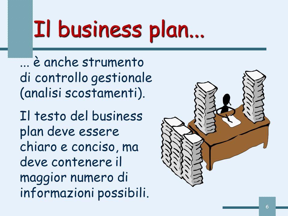 6 Il business plan...... è anche strumento di controllo gestionale (analisi scostamenti). Il testo del business plan deve essere chiaro e conciso, ma
