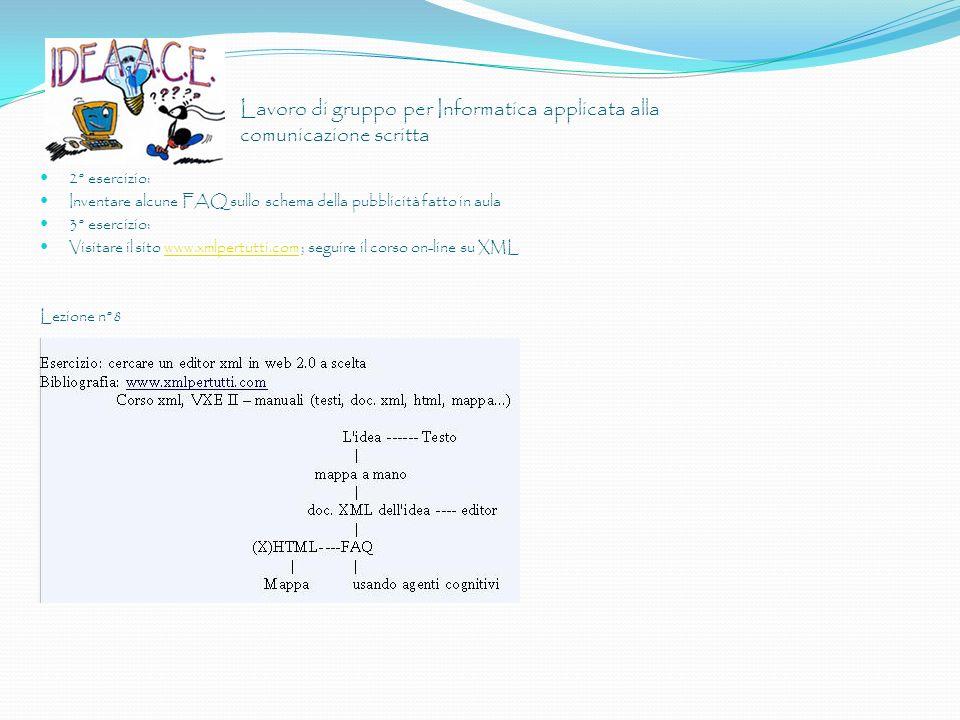 Lavoro di gruppo per Informatica applicata alla comunicazione scritta 2° esercizio: Inventare alcune FAQ sullo schema della pubblicità fatto in aula 3