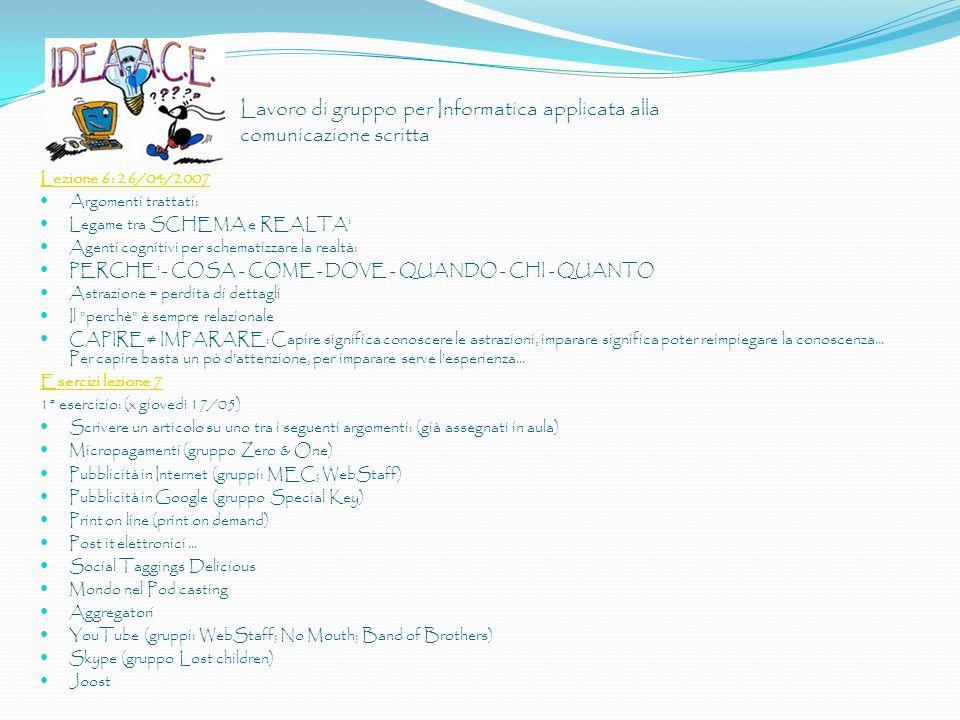 Lavoro di gruppo per Informatica applicata alla comunicazione scritta Lezione 6: 26/04/2007 Argomenti trattati: Legame tra SCHEMA e REALTA' Agenti cog