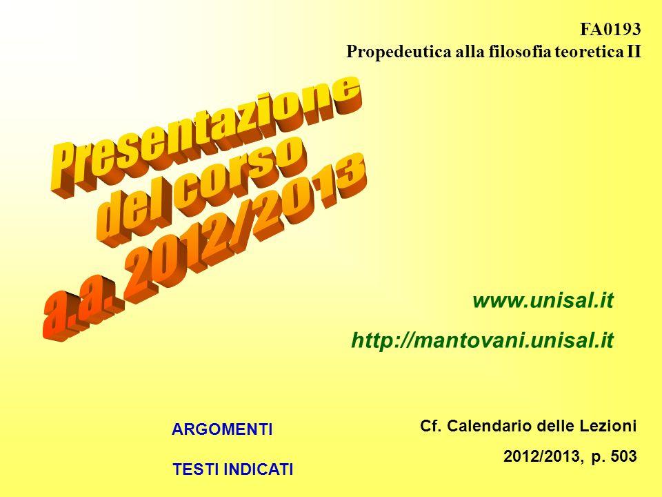 FA0193 Propedeutica alla filosofia teoretica II Cf.
