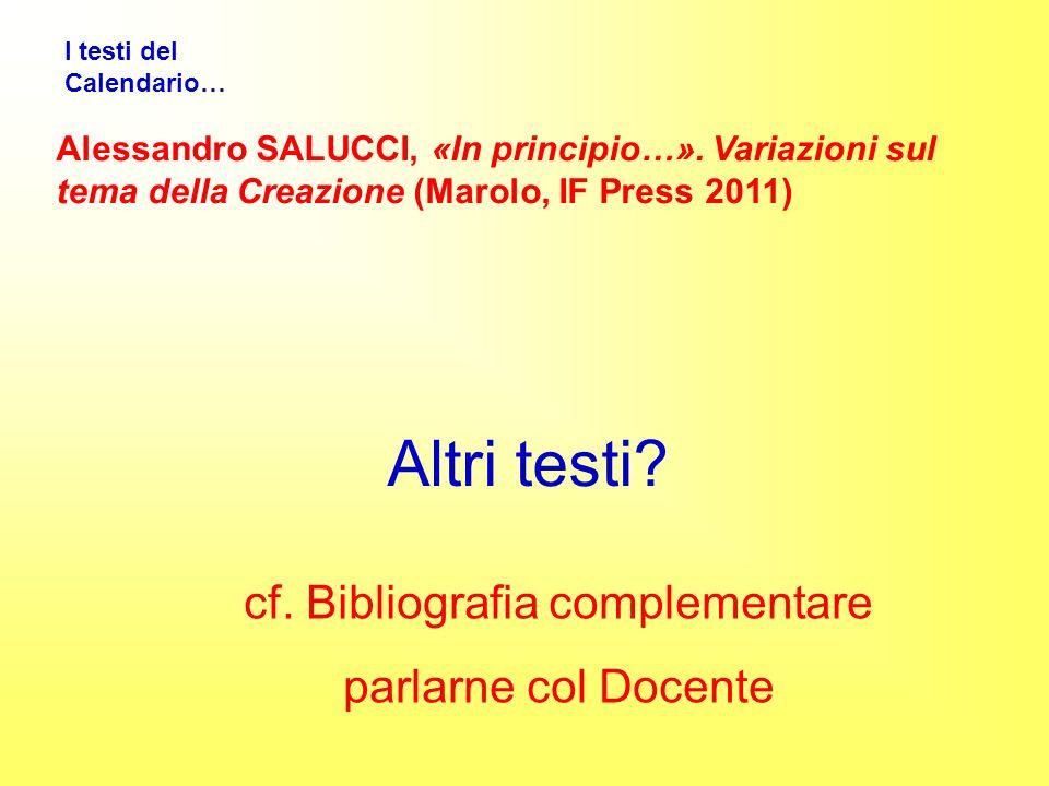 I testi del Calendario… Alessandro SALUCCI, «In principio…».