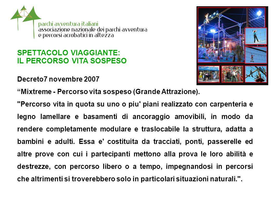 SPETTACOLO VIAGGIANTE: IL PERCORSO VITA SOSPESO Decreto7 novembre 2007 Mixtreme - Percorso vita sospeso (Grande Attrazione).