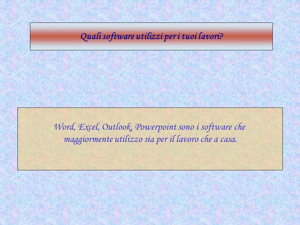Word, Excel, Outlook, Powerpoint sono i software che maggiormente utilizzo sia per il lavoro che a casa. Quali software utilizzi per i tuoi lavori?