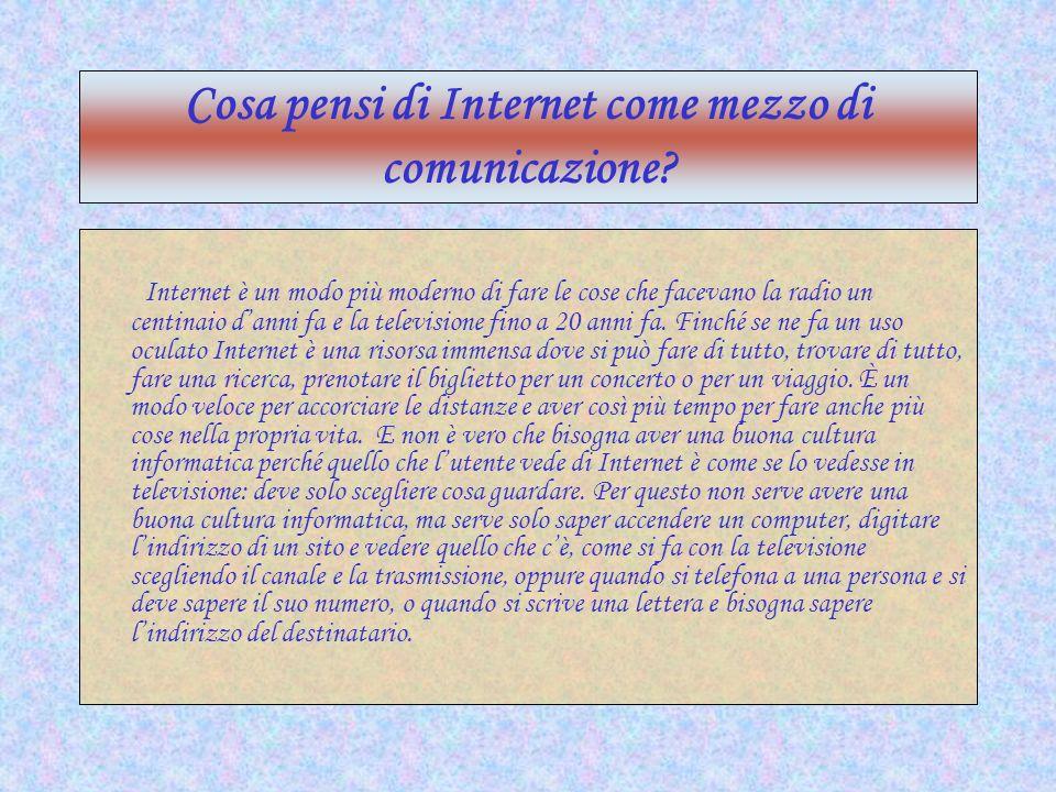 Cosa pensi di Internet come mezzo di comunicazione? Internet è un modo più moderno di fare le cose che facevano la radio un centinaio danni fa e la te