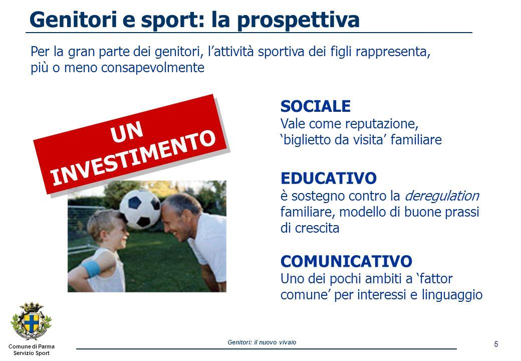 Comune di Parma Servizio Sport Genitori: il nuovo vivaio 5 Per la gran parte dei genitori, lattività sportiva dei figli rappresenta, più o meno consap