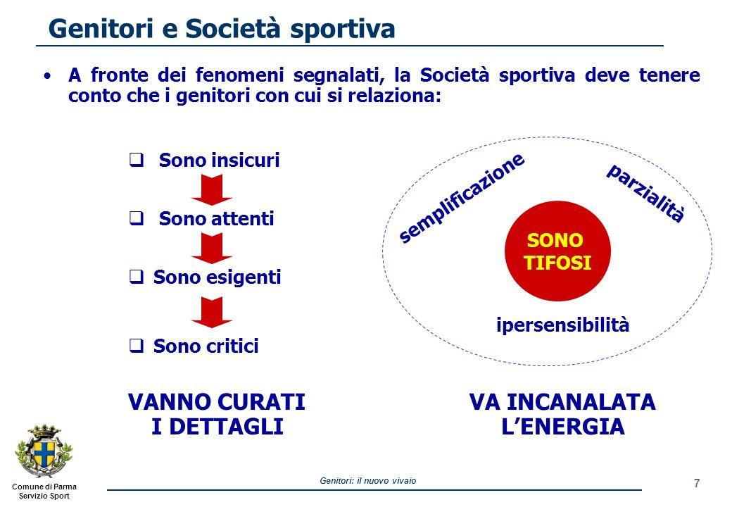 Comune di Parma Servizio Sport Genitori: il nuovo vivaio Genitori e Società sportiva A fronte dei fenomeni segnalati, la Società sportiva deve tenere