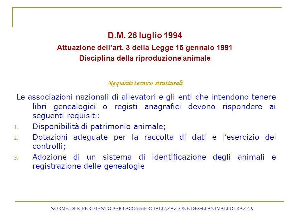 D.M. 26 luglio 1994 Attuazione dellart. 3 della Legge 15 gennaio 1991 Disciplina della riproduzione animale Requisiti tecnico-strutturali Le associazi