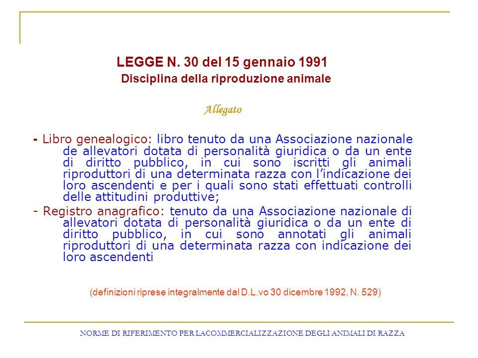 NORME DI RIFERIMENTO PER LACOMMERCIALIZZAZIONE DEGLI ANIMALI DI RAZZA LEGGE N. 30 del 15 gennaio 1991 Disciplina della riproduzione animale Allegato -