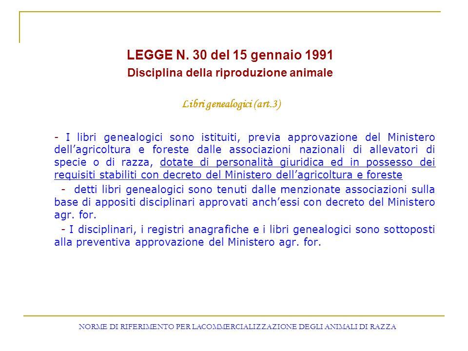 LEGGE N. 30 del 15 gennaio 1991 Disciplina della riproduzione animale Libri genealogici (art.3) - I libri genealogici sono istituiti, previa approvazi