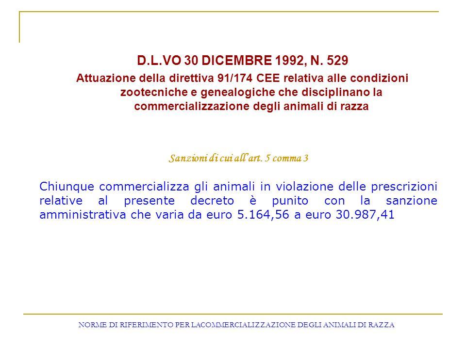 D.L.VO 30 DICEMBRE 1992, N. 529 Attuazione della direttiva 91/174 CEE relativa alle condizioni zootecniche e genealogiche che disciplinano la commerci