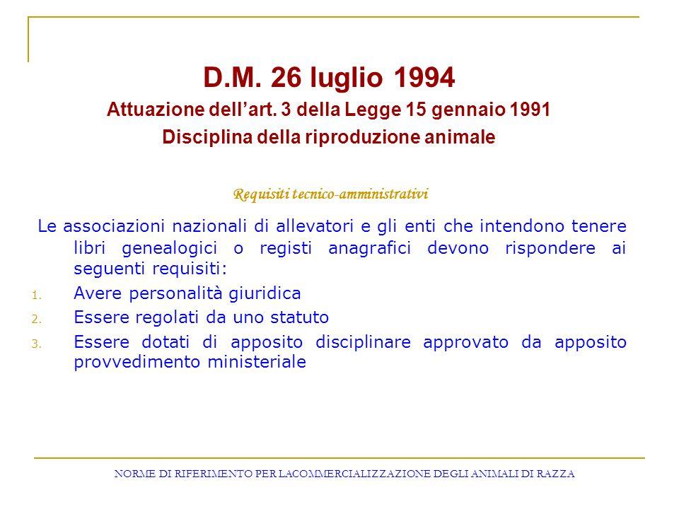D.M. 26 luglio 1994 Attuazione dellart. 3 della Legge 15 gennaio 1991 Disciplina della riproduzione animale Requisiti tecnico-amministrativi Le associ