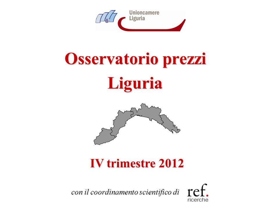 12 Lanalisi dellinflazione: il bilancio del 2012 Il 2012 si chiude con uninflazione ligure al 3.3% in media danno Superamento dello scalino Iva e crisi dei consumi producono un brusco ridimensionamento dellinflazione nellultimo trimestre dellanno (dal 3.6% al 2.9%) La velocità di marcia dei prezzi in Liguria si conferma superiore alla media Italia (3.3% contro 3% in media danno, 2.9% contro 2.5% nel IV trimestre) Rallenta anche linflazione di fondo: pesa il crollo dei consumi delle famiglie