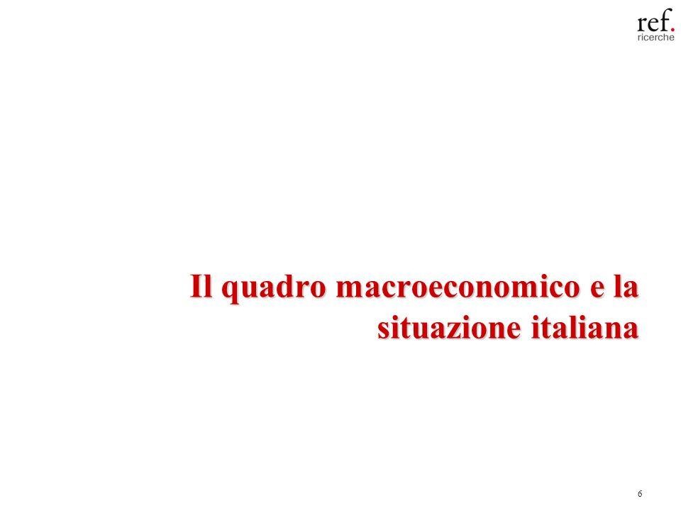 7 Economia italiana sui minimi: la caduta dei consumi supera quella del prodotto Fonte: elaborazioni REF Ricerche su dati Eurostat Fonte: elaborazioni REF Ricerche su dati Istat III trim.