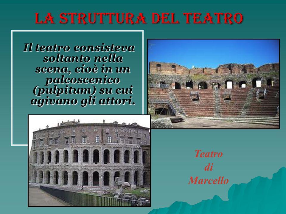 La struttura del teatro Il teatro consisteva soltanto nella scena, cioè in un palcoscenico (pulpitum) su cui agivano gli attori. Il teatro consisteva