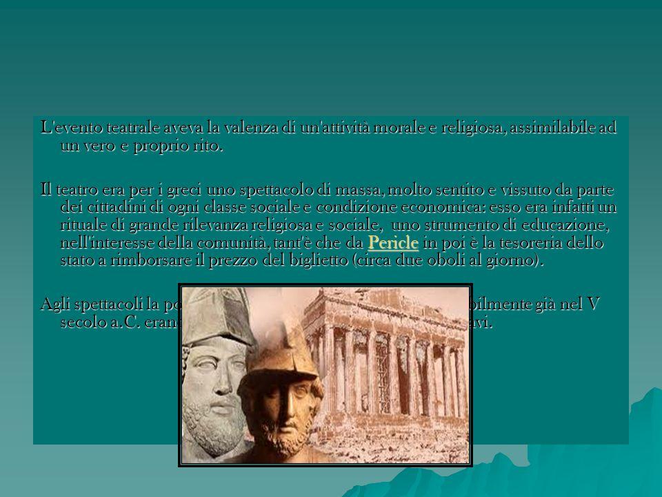 L a Tragedia Attica La tragedia rappresentava una vicenda umana, incentrata su un problema etico o religioso, con un epilogo drammatico.