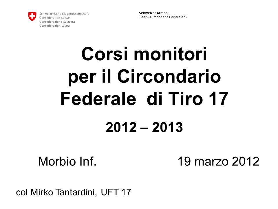 Schweizer Armee Heer – Circondario Federale 17 Corsi monitori per il Circondario Federale di Tiro 17 2012 – 2013 Morbio Inf. 19 marzo 2012 col Mirko T