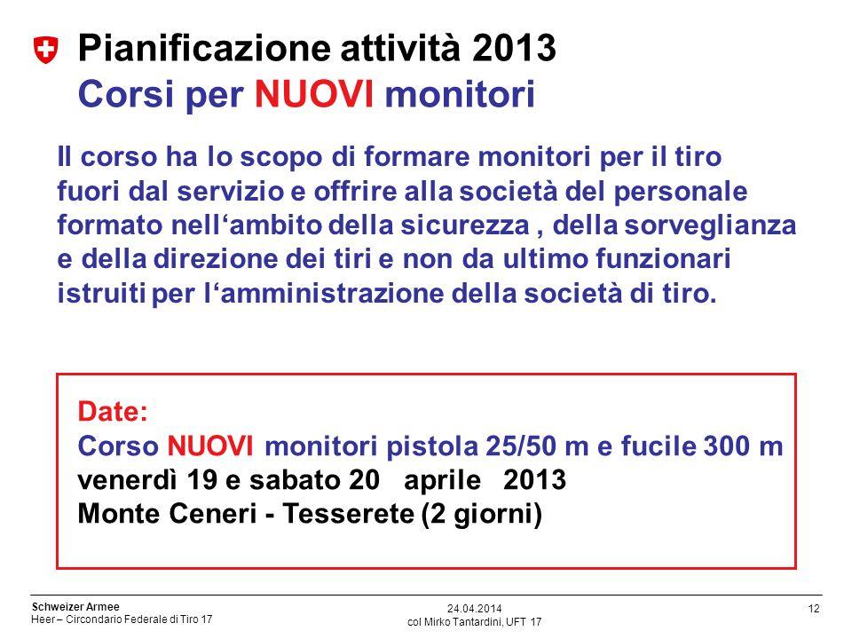 12 Schweizer Armee Heer – Circondario Federale di Tiro 17 col Mirko Tantardini, UFT 17 24.04.2014 Pianificazione attività 2013 Corsi per NUOVI monitor