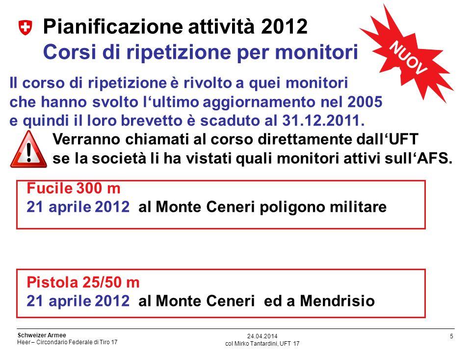 5 Schweizer Armee Heer – Circondario Federale di Tiro 17 col Mirko Tantardini, UFT 17 24.04.2014 Pianificazione attività 2012 Corsi di ripetizione per