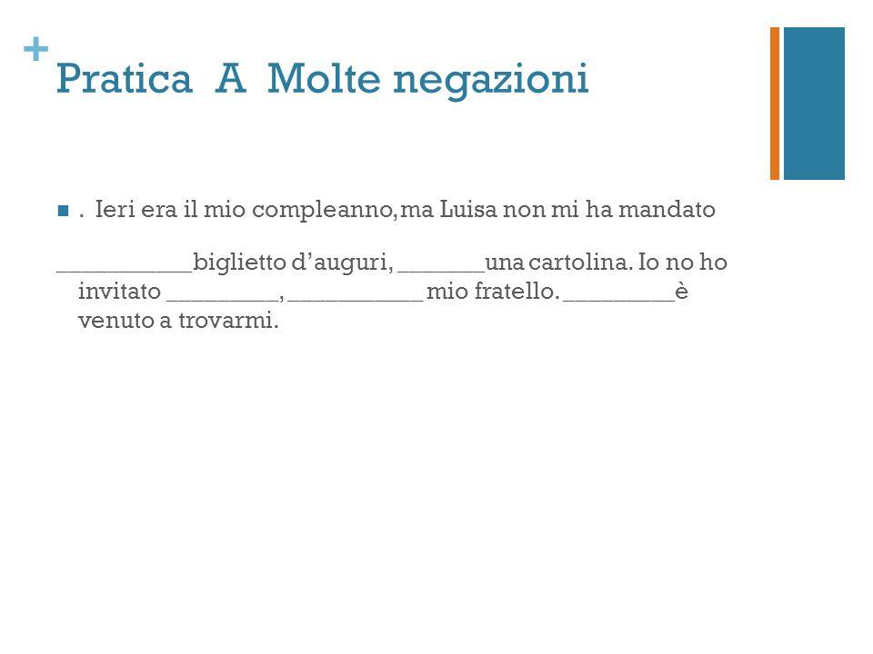 + Pratica A Molte negazioni.