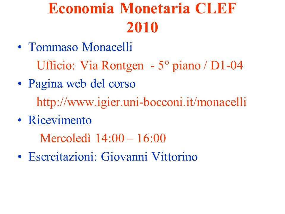 Economia Monetaria CLEF 2010 Tommaso Monacelli Ufficio: Via Rontgen - 5° piano / D1-04 Pagina web del corso http://www.igier.uni-bocconi.it/monacelli