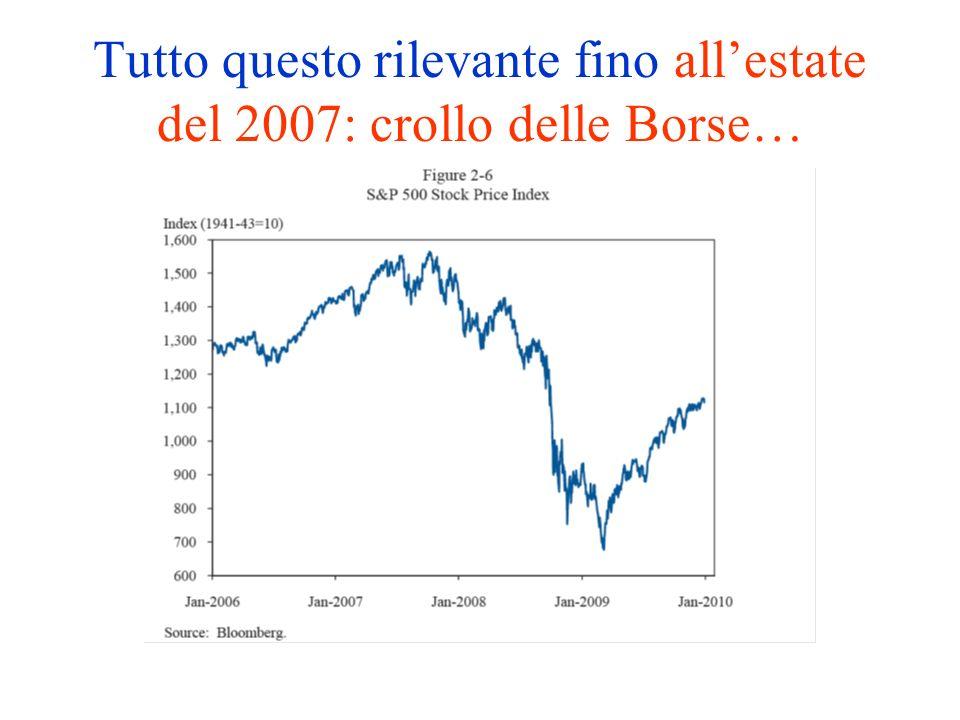Tutto questo rilevante fino allestate del 2007: crollo delle Borse…