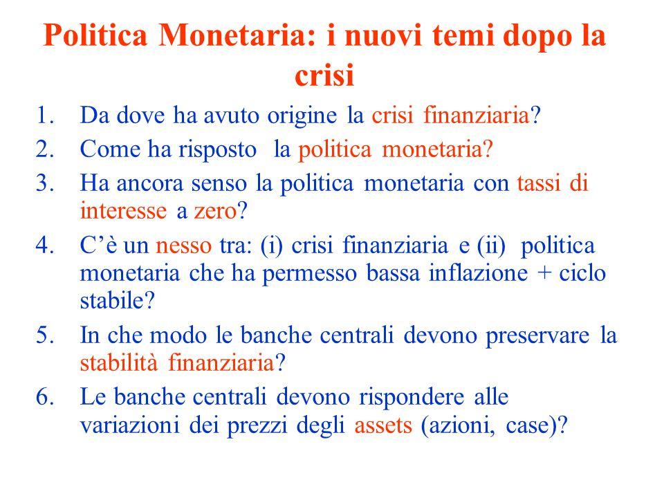 Politica Monetaria: i nuovi temi dopo la crisi 1.Da dove ha avuto origine la crisi finanziaria? 2.Come ha risposto la politica monetaria? 3.Ha ancora