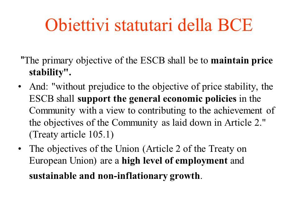 Obiettivi statutari della BCE