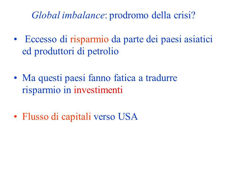 Global imbalance: prodromo della crisi? Eccesso di risparmio da parte dei paesi asiatici ed produttori di petrolio Ma questi paesi fanno fatica a trad