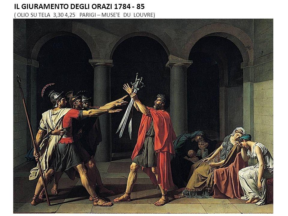IL GIURAMENTO DEGLI ORAZI 1784 - 85 ( OLIO SU TELA 3,30 4,25 PARIGI – MUSE E DU LOUVRE)