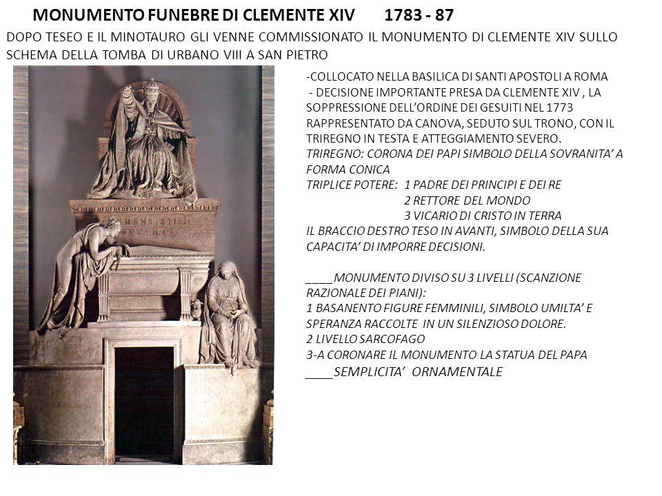 MONUMENTO FUNEBRE DI CLEMENTE XIV 1783 - 87 DOPO TESEO E IL MINOTAURO GLI VENNE COMMISSIONATO IL MONUMENTO DI CLEMENTE XIV SULLO SCHEMA DELLA TOMBA DI URBANO VIII A SAN PIETRO -COLLOCATO NELLA BASILICA DI SANTI APOSTOLI A ROMA - DECISIONE IMPORTANTE PRESA DA CLEMENTE XIV, LA SOPPRESSIONE DELLORDINE DEI GESUITI NEL 1773 RAPPRESENTATO DA CANOVA, SEDUTO SUL TRONO, CON IL TRIREGNO IN TESTA E ATTEGGIAMENTO SEVERO.