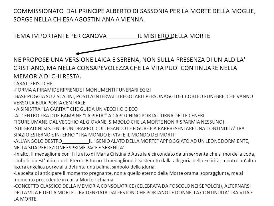 COMMISSIONATO DAL PRINCIPE ALBERTO DI SASSONIA PER LA MORTE DELLA MOGLIE, SORGE NELLA CHIESA AGOSTINIANA A VIENNA.
