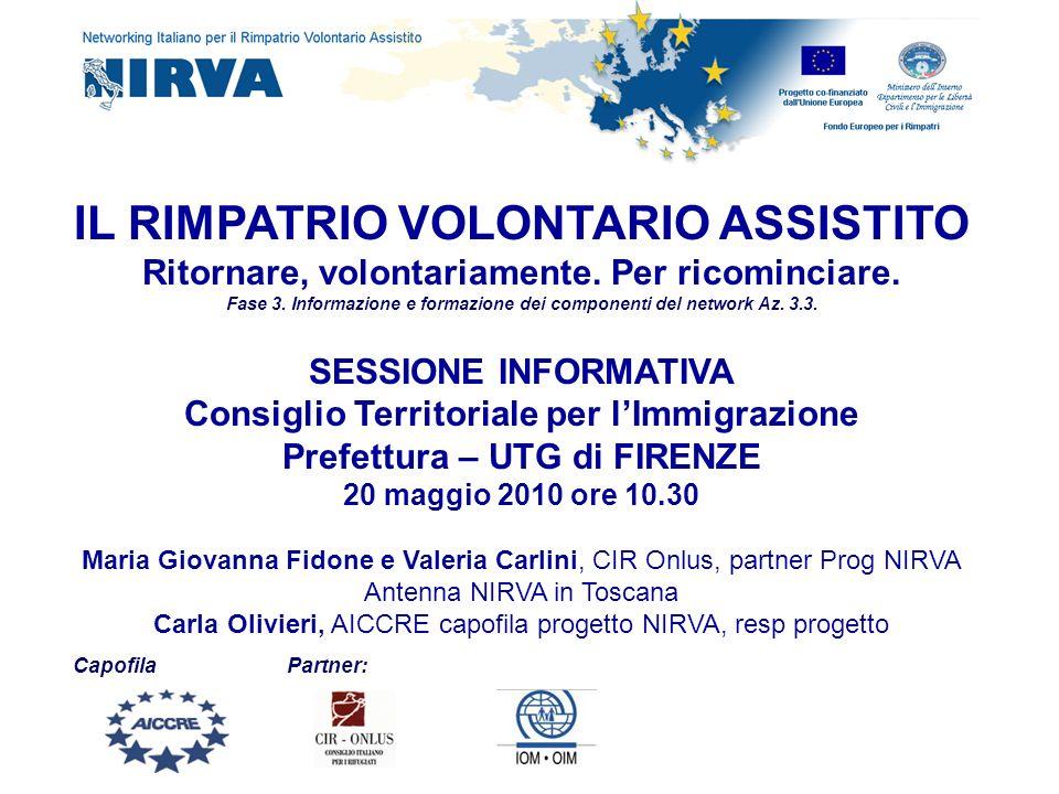 Il Fondo europeo per i Rimpatri RVA che cosè e come si è sviluppato in Italia e quanto costa Il progetto NIRVA La Rete NIRVA Il Kit informativo NIRVA Come si attua il RVA in Italia, il progetto PARTIR Segnalazione dei casi Riferimenti