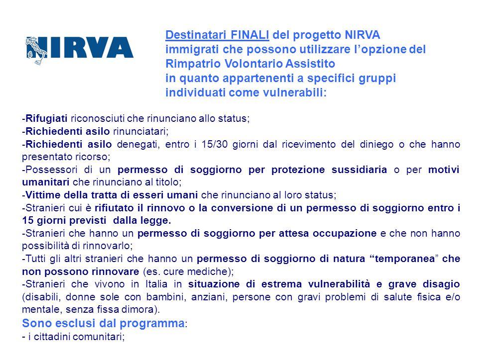 Destinatari FINALI del progetto NIRVA immigrati che possono utilizzare lopzione del Rimpatrio Volontario Assistito in quanto appartenenti a specifici